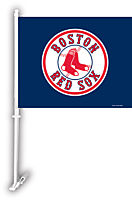 BOSTON RED SOX 2 SIDED CAR FLAG BANNER WITH WALL MOUNT