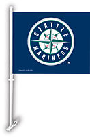 SEATTLE MARINERS 2 SIDED CAR FLAG BANNER WITH WALL MOUNT