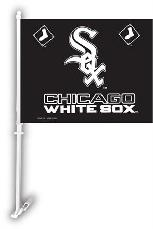 CHICAGO WHITE SOX 2 SIDED CAR FLAG BANNER WITH WALL MOUNT
