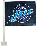 JAZZ-UTAH JAZZ CAR ROLL UP FLAG WITH WALL MOUNT