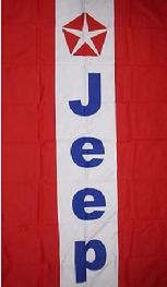JEEP RED STRIPES VERTICAL FLAG BANNER