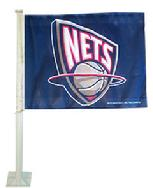 NETS- NEW JERSEY NETS CAR ROLL UP FLAG WITH WALL MOUNT