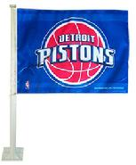 PISTONS DETROIT PISTONS CAR FLAG WITH WALL MOUNT