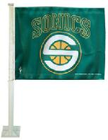 SONICS SEATTLE SONICS CAR FLAG WITH WALL MOUNT