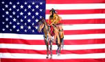 US background Indian on horse