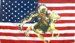 US Flag background with a Native American Indian Warrior on horseback. 3' X 5' with reinforced