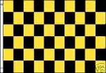 YELLOW AND BLACK CHECKERED FLAG SIGN 3' X 5' BANNER